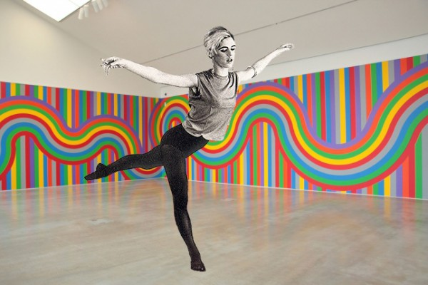 Edie Sedgwick doing an arabesque in the Sol LeWitt Artist Room