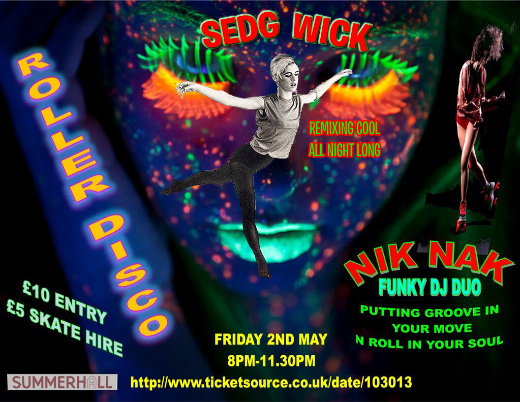 Psychedellic, black-light poster for Roller Disco featuring DJ Sedg Wick