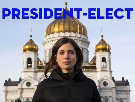 Photo of Russian President-Elect Nzdezhda Tolokonnikova on the day after the Russian Presidential elections.