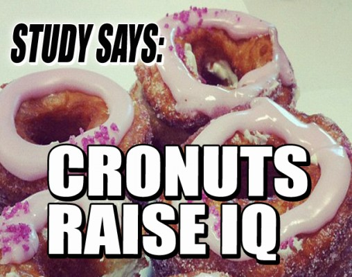 "Photo of Cronuts with text ""Study Shows: Cronuts Raise IQ"""