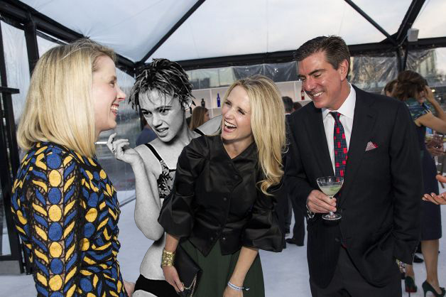 Marissa Mayer, DJ Sedg Wick, Jennifer Siebel Newsom and Bandel Carano @SFMOMA ModernBall moments before Sedg Wick's set