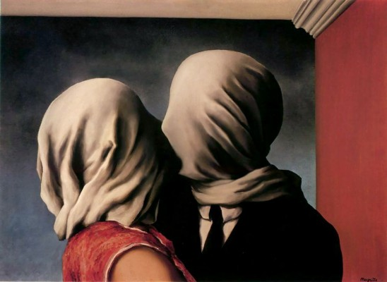 Rene Magritte, The Lovers, painting of a couple with their heads covered by scarves, kissing