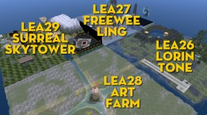 Aerial view of the LEA26-27-28-29 Regions in Second Life