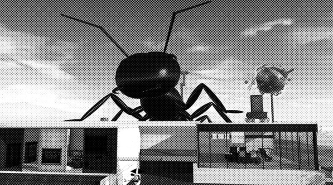 grainy black-and-white newspaper photo of a giant ant crawling over buildings at Art Farm at LEA28