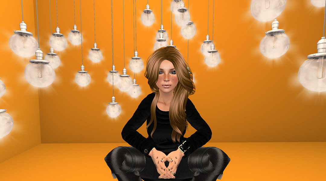 Oona, dressed in black, sits in front of a field of light bulbs, hanging against an orange background