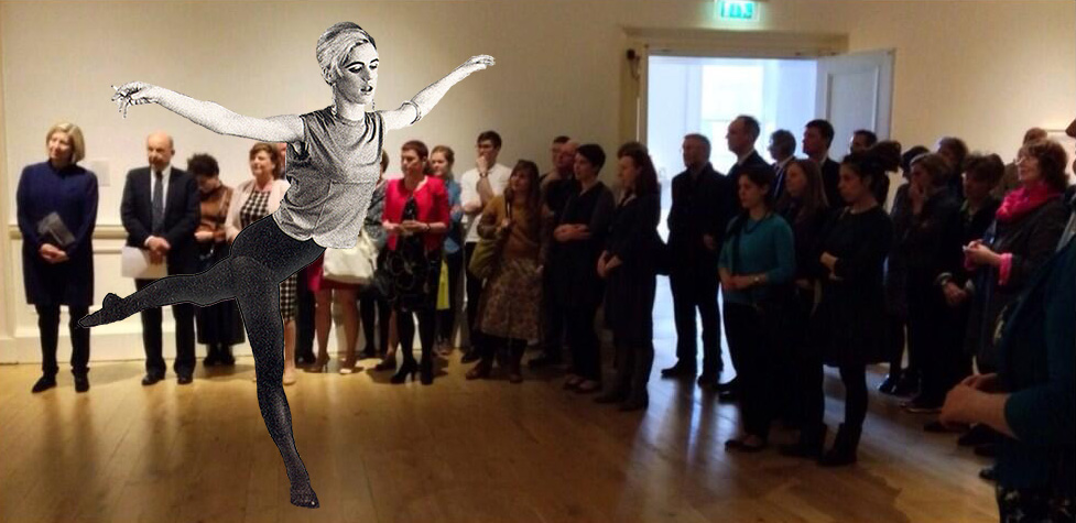 Edie Sedgwick doing an arabesque in the National Gallery of Scotland at the 5th anniversary party for Artist Rooms