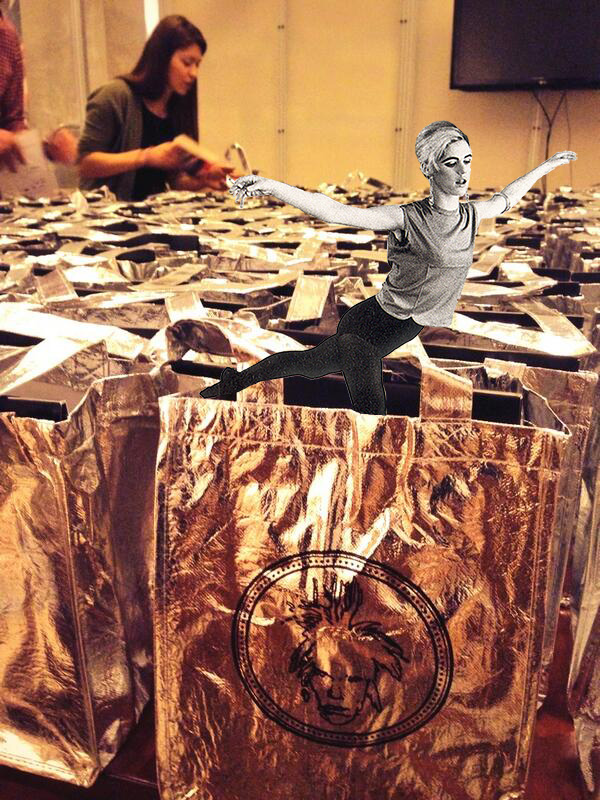 image of workers preparing mylar swag bags for Warhol Museum Anniversary Gala, with Edie Sedgwick in trademarked black tights doing an arabesque out of the bag