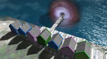 a row of small houses facing a swirling vortex over the sea